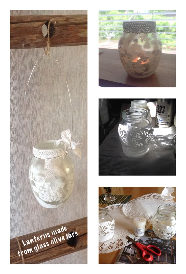 Lanterns made from used glass olive jars. White spraypaint, cake paper, wire and lace ribbon. #glassjar #lantern #candle #diy #recycle