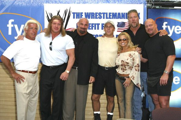 Ric Flair Triple H Bill Goldberg Shawn Michaels Trish Stratus Kevin Nash and Stone Cold Steve Austin