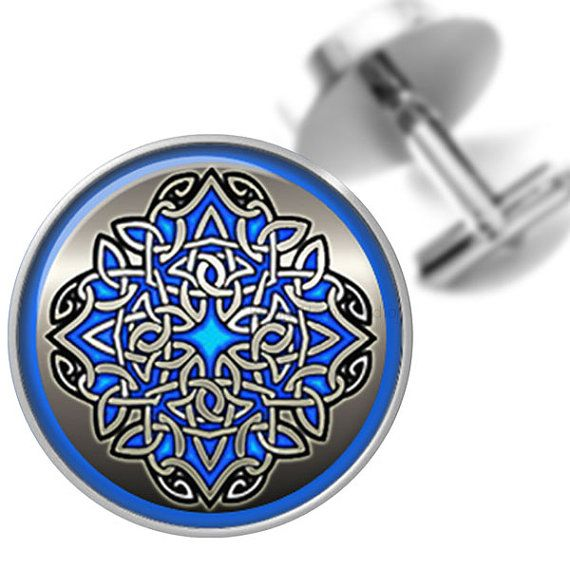 Cufflinks Celtic Knot Design in Blue and by BelugaHomeStudio, $39.95