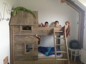 insidenout.nl Stapelbed steigerhout Kids bed