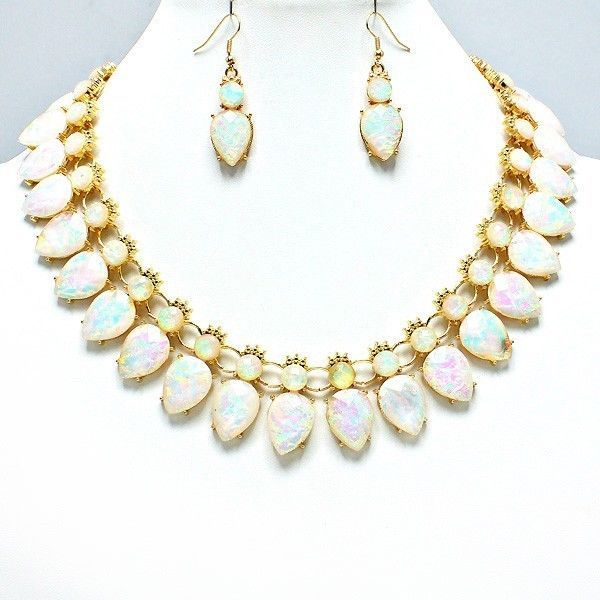 Elegant Design Pearlescent White Gold Teardrop Modern Collar Necklace Earring #uniklook