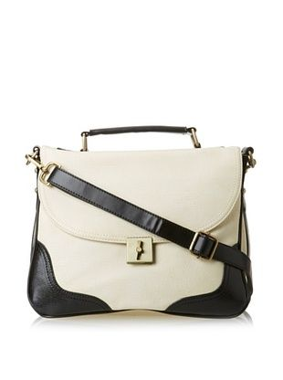 38% OFF Nila Anthony Women's Contrast Top Handle Satchel with Strap, Cream, One Size