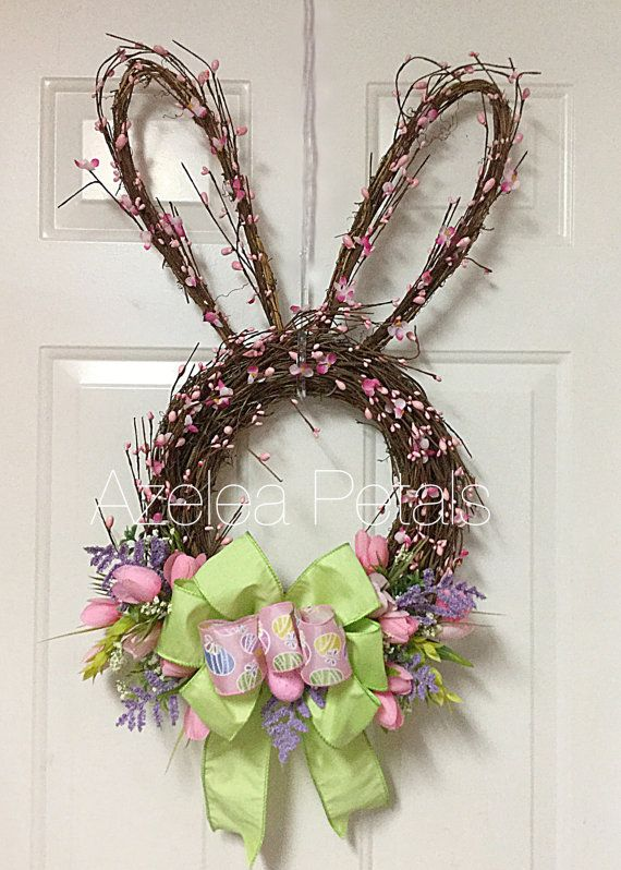 Grapevine Berry Rabbit Head Wreath Bunny Easter by Azeleapetals Azelea Petals