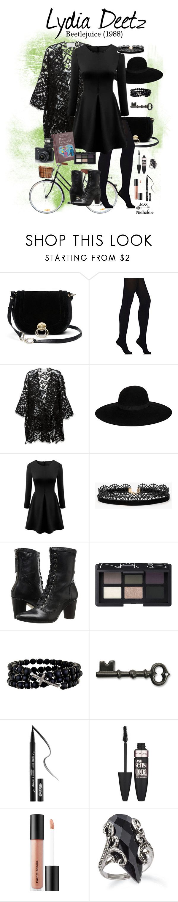"""Beetlejuice (1988): Lydia Deetz"" by jess-nichole ❤ liked on Polyvore featuring Diane Von Furstenberg, Wolford, Chloé, Maison Michel, WithChic, Azalea, Johnston & Murphy, NARS Cosmetics, Nikon and Renee Sheppard"