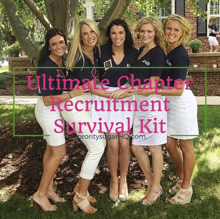 """Every sorority needs one… The sorority sugar """"Ultimate Chapter Recruitment Survival Kit!"""" Stay cool, stay calm and stay sorority sweet by putting together a """"sister-aid kit."""" 40 necessities and remedies for work week and recruitment week. Fix any..."""