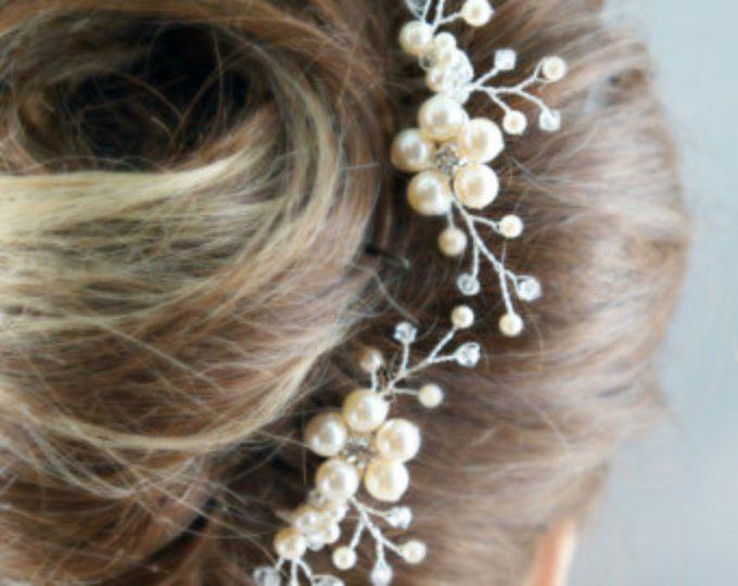 Nupcial peine pedazo del pelo de perlas marfil accesorios