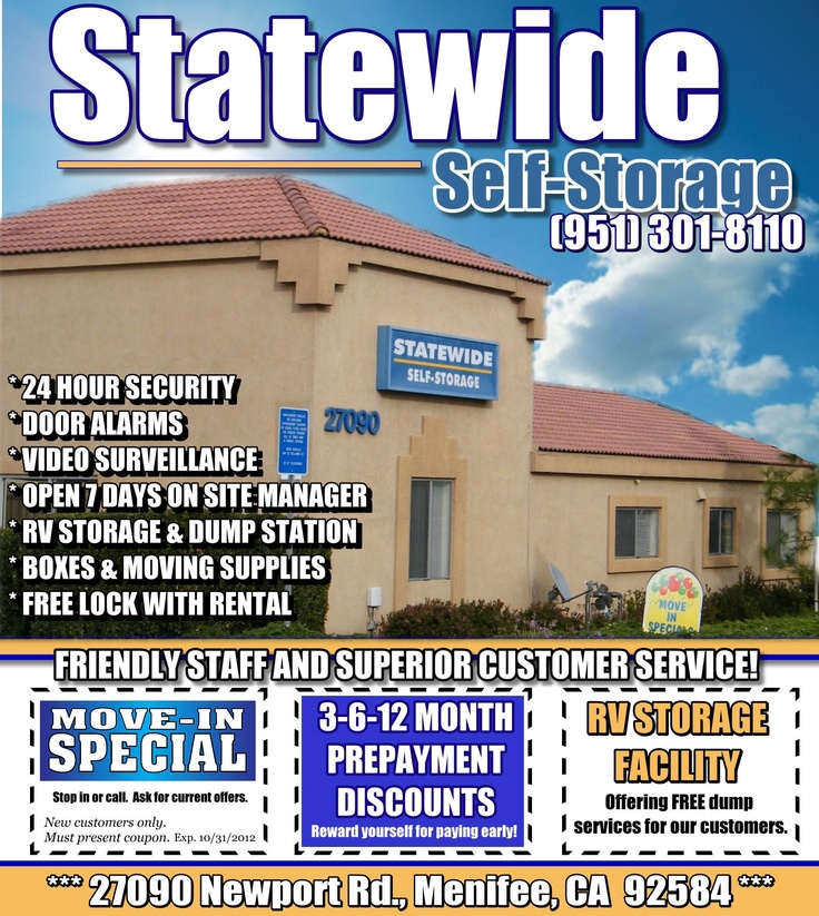 Statewide Self Storage Coupon Oct 2017