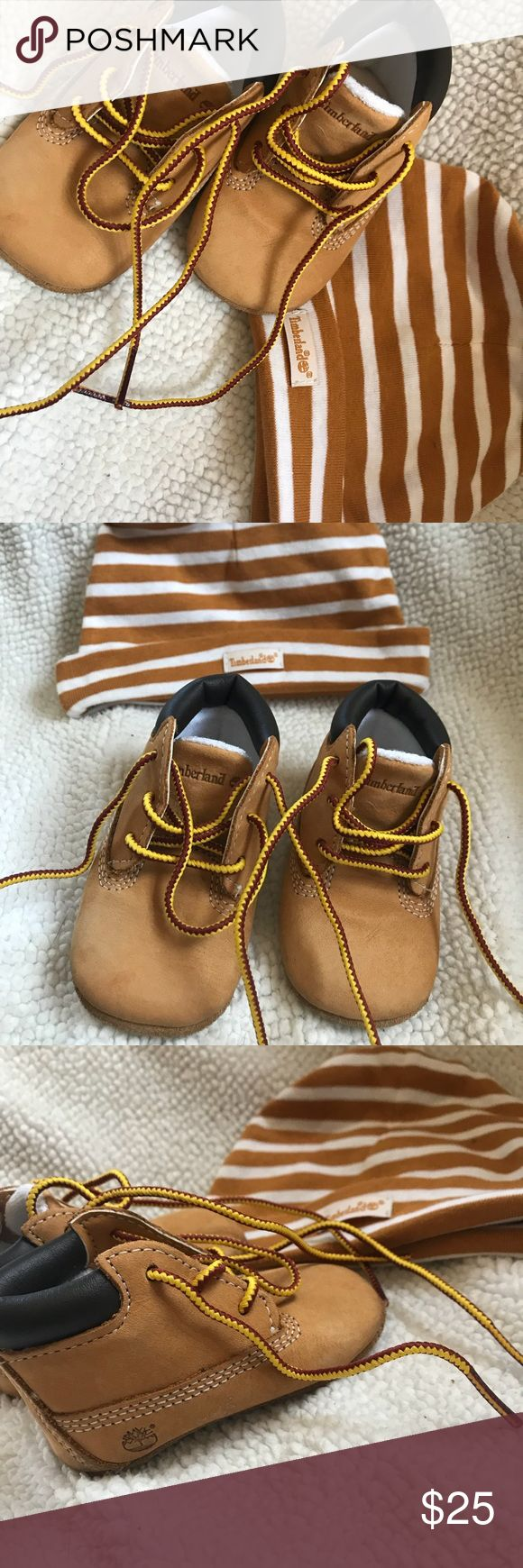 Timberland boots like new, worn maybe twice. size 1 infant timberland boots. comes with beanie. Timberland Shoes Baby & Walker