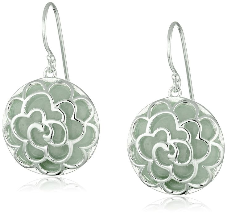 Sterling Silver Round Jade with Flower Design Drop Earrings: