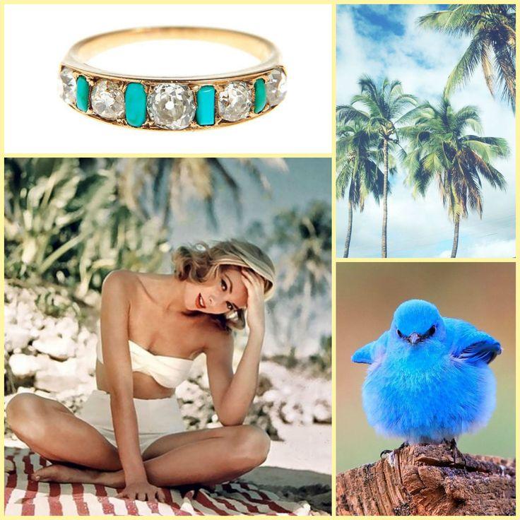 Ring, XIX/XX w., gold 14 K, 5 diamonds 0,80 ct I/VS-Si, 4 turquoise, weight: 2,82  http://desabizuteria.pl/produkt2/714
