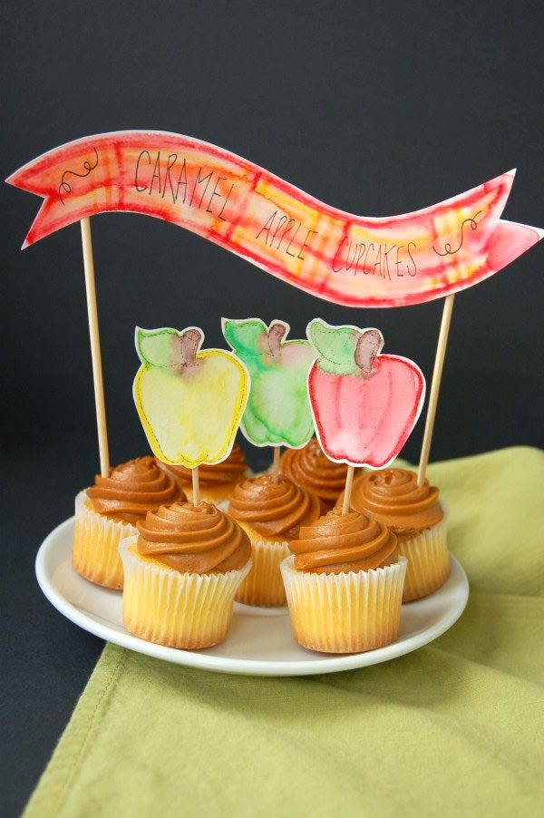 DIY Autumn Watercolor Cupcake Toppers  {Lisa Frank for Confetti Sunshine}