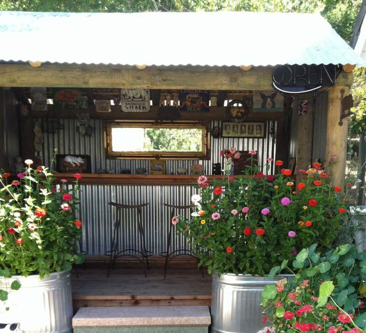 Cool bar pub shed pinterest backyards metals and bar for Garden shed bar