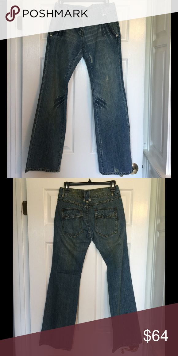 "Peppe Peluso Distressed Jeans - NWT Peppe Peluso Distressed Jeans - SAMPLE- NWT - Approximate Measurements -Waist 15"" Lying Flat - Inseam 32"" - 2 Front Pockets - 2 Rear Pockets - Button / Zipper Fly Peppe Peluso Jeans Flare & Wide Leg"