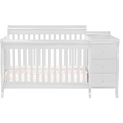 @Overstock.com - DaVinci White Kalani Crib and Changer with Toddler Rail  - Make the most of your nursery space with this innovative crib and changer from DaVinci. Featuring a standard size crib and stationary sides, this set made of New Zealand pine has an attached changer with plenty of room for all your baby's necessities.  http://www.overstock.com/Home-Garden/DaVinci-White-Kalani-Crib-and-Changer-with-Toddler-Rail/6641722/product.html?CID=214117 $379.99