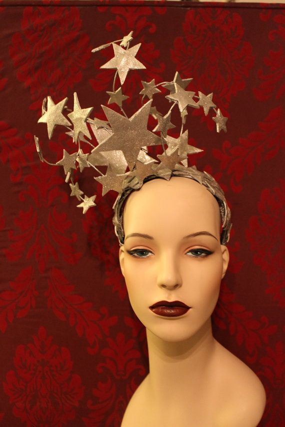 Bright Star Headdress II - Wired Sparkling Silver Leather star headdress. To Order