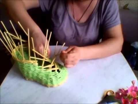 Плетение из газетных трубочек башмака. (4 часть) - YouTube