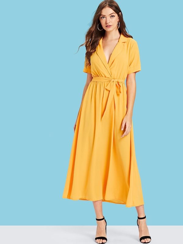 Notch Collar Belted Wrap Dress -SHEIN(SHEINSIDE) db3b48c06