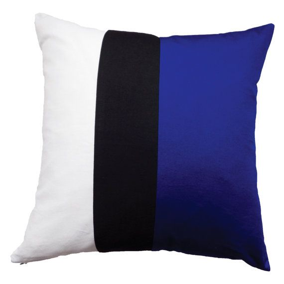 Black White Blue Cushion Cover Colorblock by LittleSewingStudio