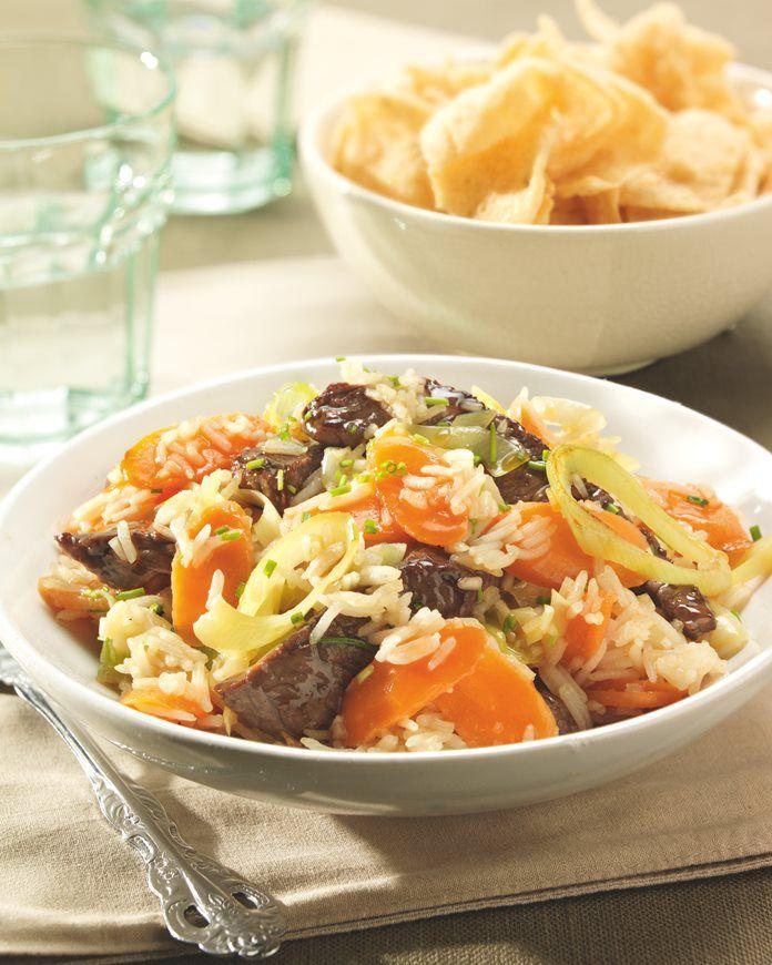 Basmati rijst met biefstuk, prei en wortel recept