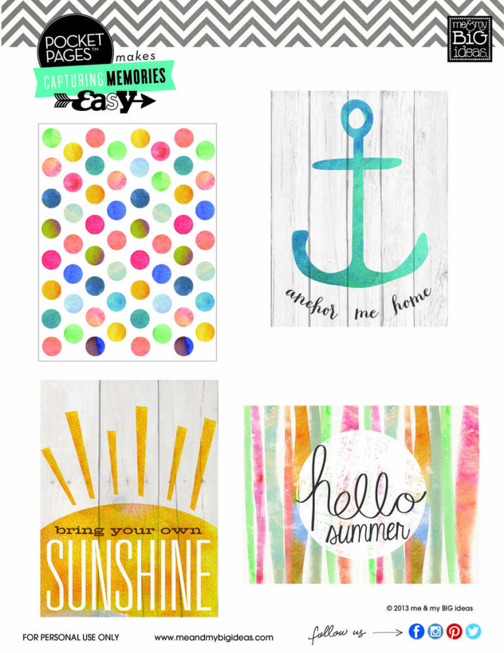 Summer Project Life Cards Freebie
