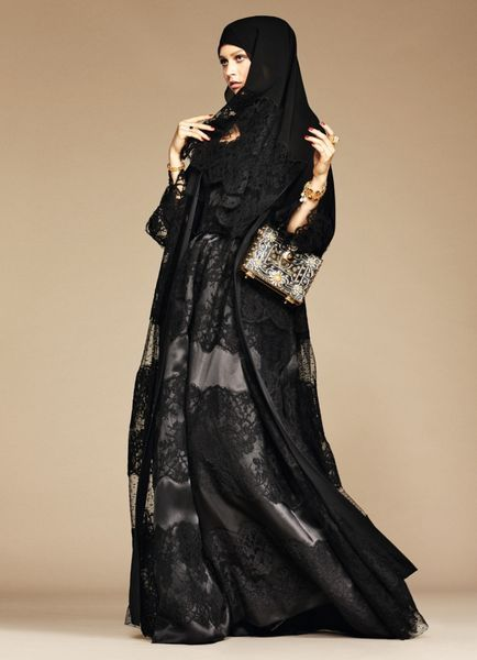 Black Lace Hijab and Abaya from Dolce & Gabbana's Debut Collection for the 'Arab World': (http://www.racked.com/2016/1/5/10714902/dolce-gabbana-abaya-collection#6246533)