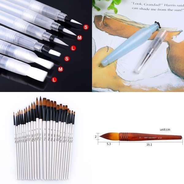 6pcs S M L Watercolor Brush Pen Art Markers Water Tank Calligraphy