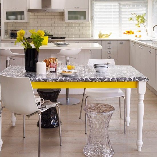 Table with yellow panel and stickyback plastic | Black and white kitchens - 10 of the best | Kitchen design ideas | PHOTO GALLERY | Livinget...