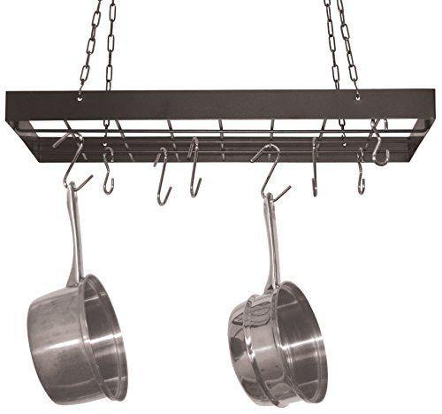fox run pot rack with chrome chains and hooks black