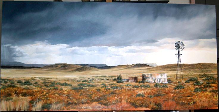 Margie Schultz 2015. Karoo windmill Oil 2000 x 1000