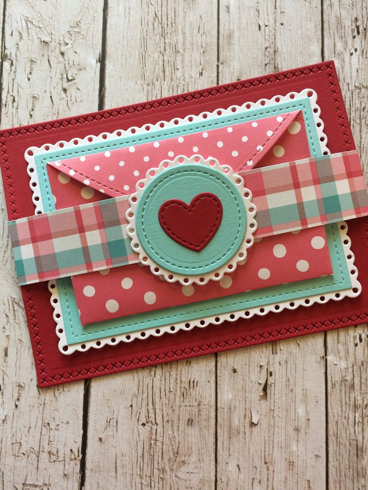 https://flic.kr/p/QVgDrB | Cover-Flip Open Valentine Card | Ingredients: Stitched Heart Envelope, Love Letters, Valentine Borders, Fancy Scalloped Circle Stackables, Fancy Scalloped Rectangle Stackables, Lg & Sm Stitched Rectangle Stackables and Lg & Sm Cross-Stitched Stackables Lawn Cuts die's. Love Letters stamp set. Let's Polka In the Meadow Wildflower and Perfectly Plaid Lynette 12x12 papers. Guava and Mermaid cardstock. All items listed are from Lawn Fawn.