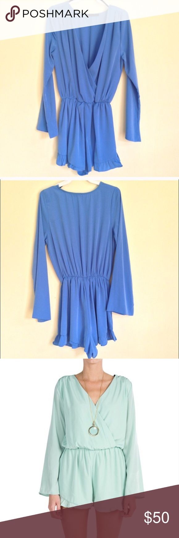 Blue Long Sleeve Ruffle Romper Blue Long Sleeve Ruffle Romper, size small. I bought this new from another posher. I LOVE it, but it's too big for me. Pants Jumpsuits & Rompers
