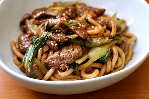 Yaki udon with beef. Quick and easy.
