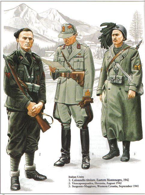 Regio Esercito - 1 Colonnello titolare di Fanteria, Montenegro, 1942 - 2. Vicecaposquadra della Milizia, Slovenia 1942 - 3. Sergente Maggiore de Fanteria, Croazia occidentale, 1941