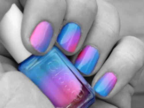 Nails: Cotton Candy, Nails Art, Real Life, Nails Colors, Nailpolish, Pretty Nails, Ties Dyes, Gradient Nails, Nails Polish