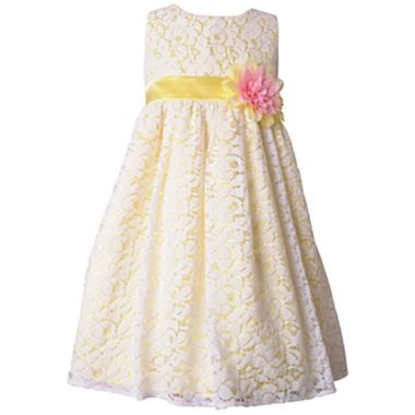 Flower Girl Dress - Change out pink flower for something else - Pinky Sleeveless Lace Dress – Girls 4-6x - jcpenney
