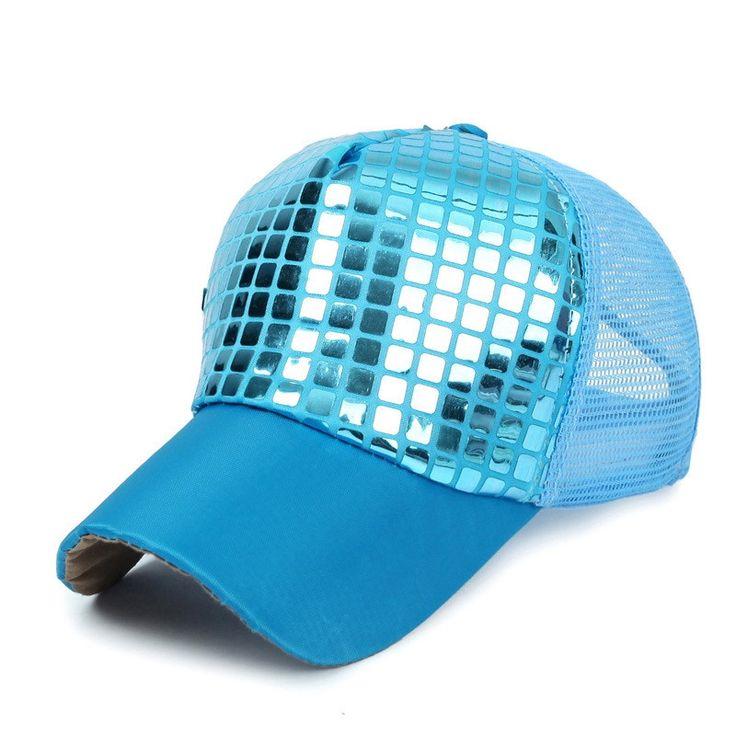 Baseball Cap Hat Sequined Shiny Cap Outdoor Sports Women Summer Visor Hats Mesh Breathable Snapback Hip Hop Caps