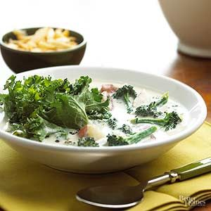This easy recipe for broccoli soup is speedy enough--and fiiling enough--for a quick lunch. Potatoes add extra heartiness, while the winter greens add flavor and color.
