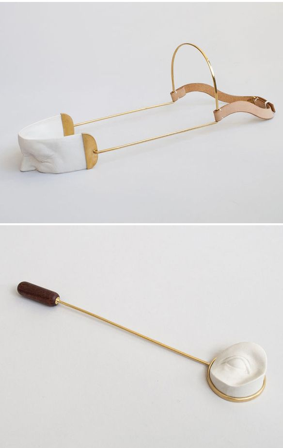 hand crafted porcelain body casts, gold plated brass metal frames by daniel ramos obregón