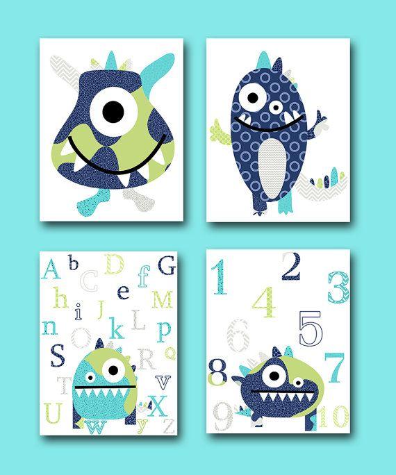Monster Nursery Alphabet Nursery Numbers Wall by artbynataera