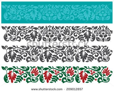 Vector set of floral elements. Traditional ukrainian ornament. Seamless pattern for frames and borders. - stock vector