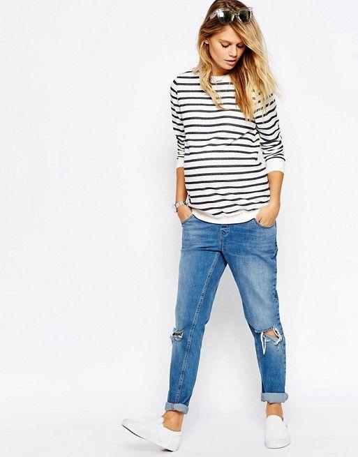 ASOS Maternity | ASOS Maternity Boyfriend Sweatshirt In Stripe