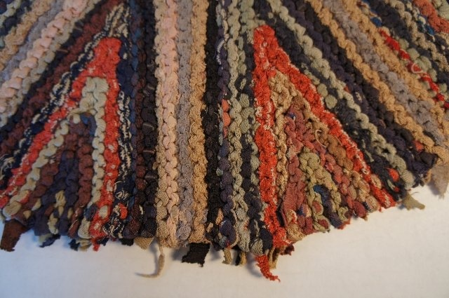 Antique Shaker large knitted rag mat table rug