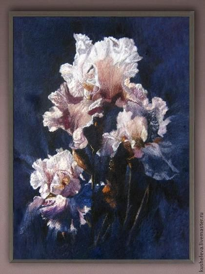 "A copy of the picture. ""Purple Iris "".Сollin Вogle.  Paintings wool fibers.Batik was not used."
