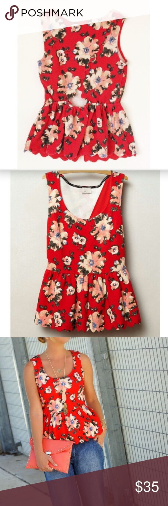 Anthropologie Postmark Red Peplum Top Adorable opening in the back! So cute for summer! Anthropologie Tops
