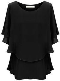 Black Off the Shoulder Ruffles Chiffon Blouse - Sheinside.com