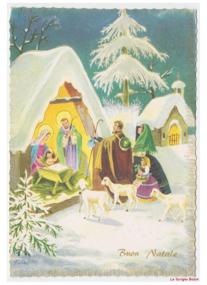 Galbi Natività Famiglia Di Pastori Gregge Cartolina Natale Religiosa