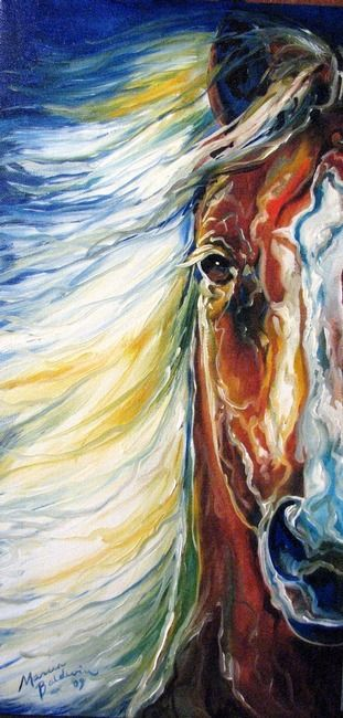 """BOLD"" by Marcia Baldwin, Shreveport, Louisiana // A unique composition of the equine face, in abstract, original oil painting by Marcia Baldwin. The original has been sold. Please enjoy prints here on Imagekind // Imagekind.com -- Buy stunning fine art prints, framed prints and canvas prints directly from independent working artists and photographers."