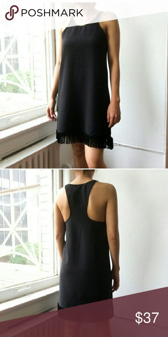 """Atid Redo Dress juniors, 1XS, 2S, 1M, 1L Atid Redo Dress. Racer back dress with fringe hem. 33.5"""" from high point shoulder to hem on a size S with fringe. 92% Polyester, 4% Lycra, 4% Spandex. Limited quantities! Dresses Mini"""