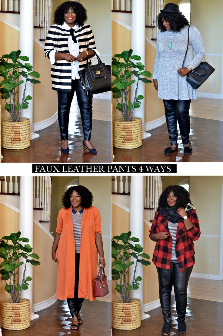 My Curves & Curls™ | A Canadian Plus Size Fashion blog: 4 Ways To Rock Your Leather Pants This Fall