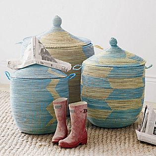 Senegalese Storage Baskets - Blue | Serena & Lily, $68 to $148, storage that looks like decor = win!
